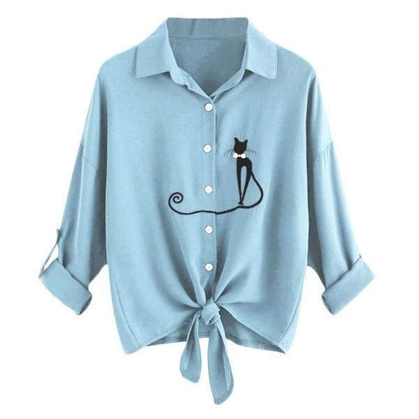 Feitong Plus Size Women Crop Tops Blouses Causal Cat Print Knotted Hem Shirt Long Sleeve Blouse Button Tops blusa feminina 2019