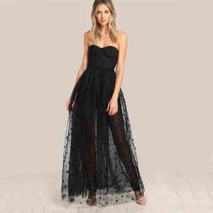 COLROVIE Black Sexy Bustier Party Dress Star Flock Cute Women Mesh Overlay Maxi Summer Dress Strapless Sheer Cut Out Dress