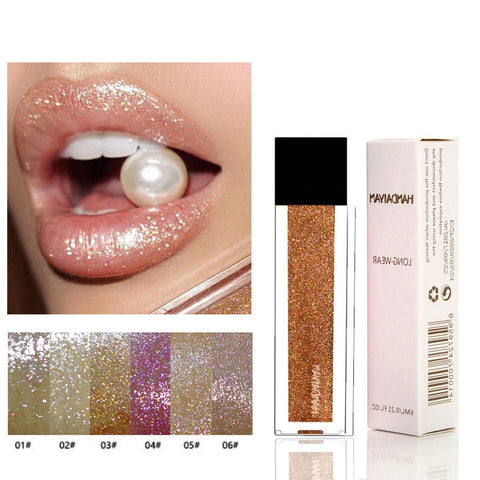 Gold Glitter Lips Makeup Lip Gloss Matte Lipgloss Waterproof Red Liquid Lipstick Glitter Shimmer Gloss Long Lasting Make Up Lips