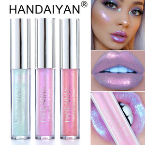 Liquid Crystal Glow Lip Gloss Laser Holographic Lip Tattoo Lipstick Mermaid Pigment Glitter Lipgloss Lip Plumper Gloss Makeup