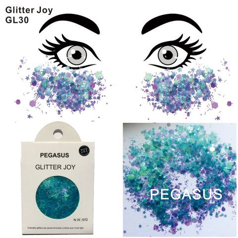 GL30 one pack of Pegasus Inspired Turquoise Mixed Purple Face Glitter Decorations  Festival Body Dance  Makeup Body Art