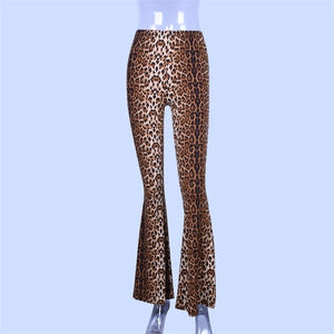 Hugcitar high waist leopard print flare leggings 2018 autumn winter women fashion sexy bodycon trousers club pants