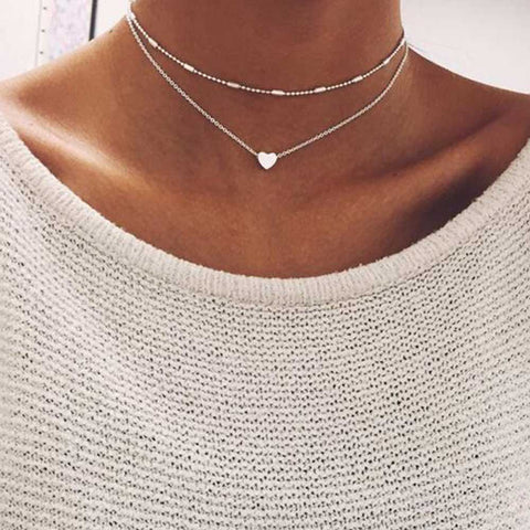 FAMSHIN Fashion Gold Silver Color Jewelry Love Heart Necklaces & Pendants Double Chain Choker Necklace Collar Women Jewelry Gift