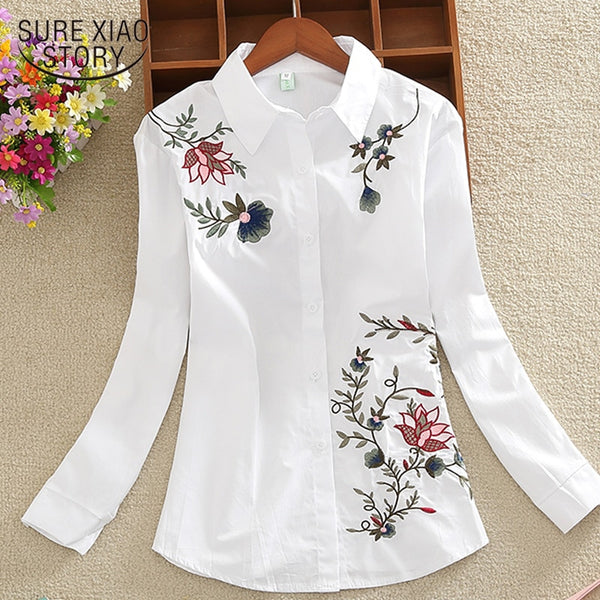 New 2018 long sleeve OL women shirts fashion large size casual loose flowers embroidered chiffon women blouse top blusas 20H 35