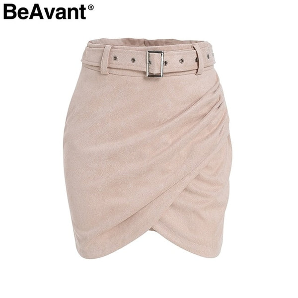 BeAvant Asymmetric suede leather skirts womens Sash high waist winter skirt female Ruched bodycon pink short skirt autumn 2018