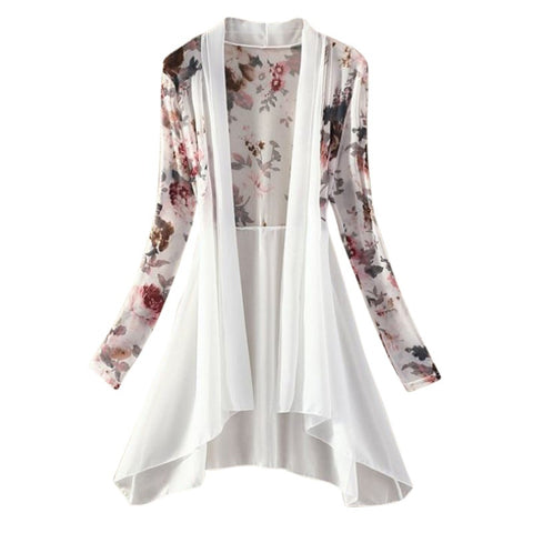 Women Kimono Vest Blusa Air Conditioning Sunscreen Female Blouses Jackets Long Chiffon Ladies Shirts