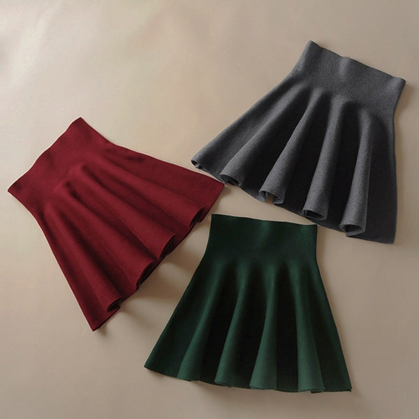 2018 new Women's Korean Version Pleated Skirt  Umbrella Skirt High Waist Bottom Knitted Skirt Autumn A-line Skirt