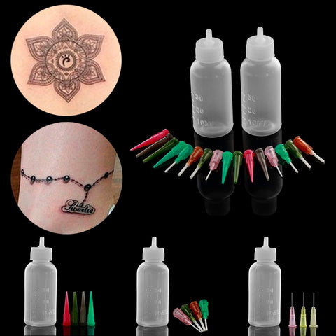 1 Set Henna Paste Bottle Nozzle Tips Kit tatoo caps Applicator Drawing for Body Art Paint Making Tool Set Tattoo Accessories