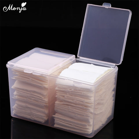 Monja Nail Art 2 Colors Clear Compartments Holder Organizer Container Gel Polish Remover Cleaning Cotton Pad Swab Storage Box