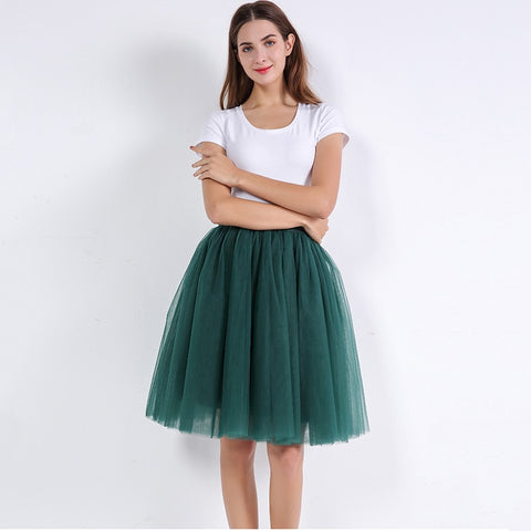 5 Layers 60cm Princess Midi Tulle Skirt Pleated Dance Tutu Skirts Womens Lolita Petticoat Jupe Saia faldas Denim Party Skirts