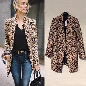Women Leopard Sexy Winter Warm Jacket New Wind Coat Cardigan Leopard Print Long Coat chaqueta mujer