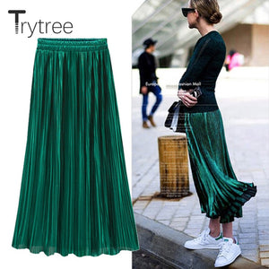 150ea41e2e Trytree Spring Summer Pleated Skirt Womens Vintage High Waist Skirt Solid Long  Skirts New Fashion Metallic