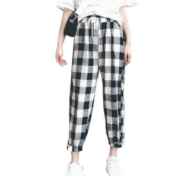 Korean Style Women Mid Waist Straight Plaid Print Ankle-Length Pants Drawstring Loose Pockets Trousers Female 2018 Autumn