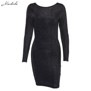 Macheda Cross Bandage Backless Sexy Bodycon Dress Women Skinny Long Sleeve O Neck Autumn Casual Knee-Length Dress Black 2018 New