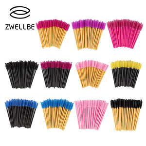 zwellbe New Good Quality Disposable 50 Pcs/Pack Eyelash Eye Lash Makeup Brush Mini Mascara Wands Brush Eyelash Extension Tool