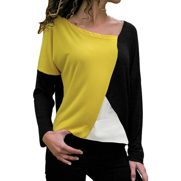 GA@Blouse 2019 Women Casual Womens Tops And Blouses Patchwork Color Block O-Neck Long Sleeve Shirt Blouse Top