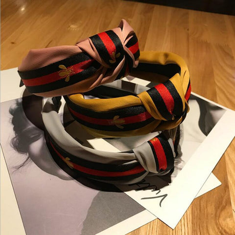 2018 New Winter Hairband Headband For Women Fashion Turban Striped Hair Band Bee Pattern Print Hair Accessories