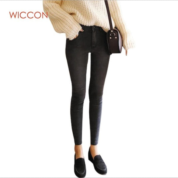 2019 Slim High Waist Jeans Woman Female Casual Denim Trousers Women Skinny Pencil Pants Full Length Spodnie Damskie Jeans WICCON