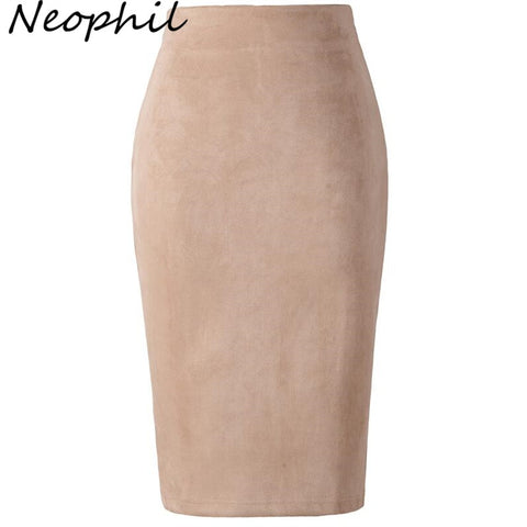 Neophil 2019 Winter Women Suede Midi Pencil Skirt High Waist Gray Pink XXL Sexy Style Stretch Wrap Ladies Office Work Saia S1009