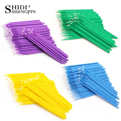 SHIDISHANGPIN 100 pcs Disposable Makeup Eyelashes Mini Individual  lashes Applicators Mascara Brush Lash Extensions Cotton Swab