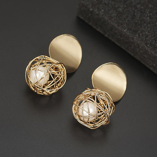 New Fashion Stud Earrings For Women Golden Color Round Ball  Geometric Earrings For Party Wedding Gift Wholesale Ear Jewelry