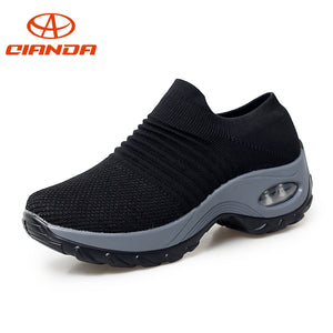 Breathable Light Women Running Shoes Outdoor Walking Cushioning Woman Sport Jogging Shoes Non-slip Sneakers Big Size US5-8.5