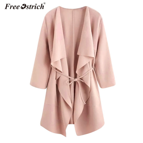 Free Ostrich Autumn Jacket Women Sashes Solid Ponchos And Capes Jackets & Coats Women Winter Jaqueta De Couro Feminino N30