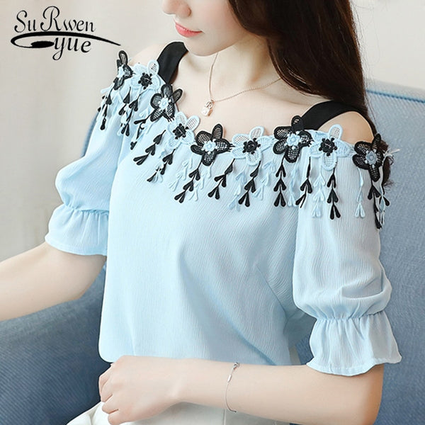 2019 fashion sexy slash neck women's clothing summer short sleeve chiffon women blouse shirt sweet women's tops blusas D690 30