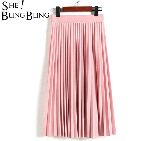 SheBlingBling Spring Autumn Fashion Women's High Waist Pleated Solid Color Half Length Elastic Skirt Promotions Lady Black Pink