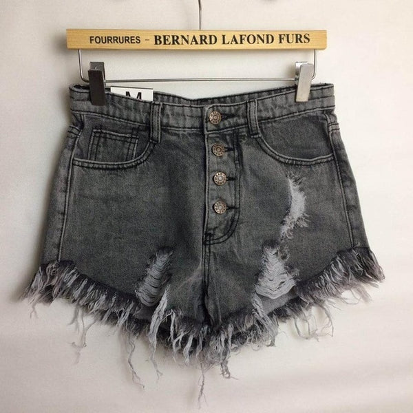 2019 European and American BF summer wind female blue high waist denim shorts women worn loose burr hole jeans shorts