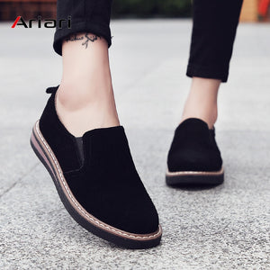 Ariari 2019 loafers shoes women slip-on sneakers genuine leather walking shoes female ballet flats oxfords women casual shoes