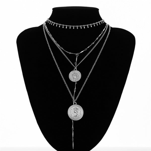 Ingemark Multilayer Carved Coin Choker Necklace Boho Vintage Alloy Beads Angel Sun Flower Pendant Long Necklace Women Jewelry