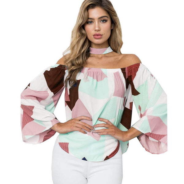 Fanbety 2019 Sexy Women Off Shoulder Long Flare Sleeve blouse New Summer Geometric print Blusa Casual Slash Neck halter shirts