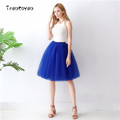 Gothic 5 Layers 65cm Mix Colors Tutu Tulle Skirt Women Streetwear High Waist Pleated Midi Skirts spudniczki jupe rokken faldas