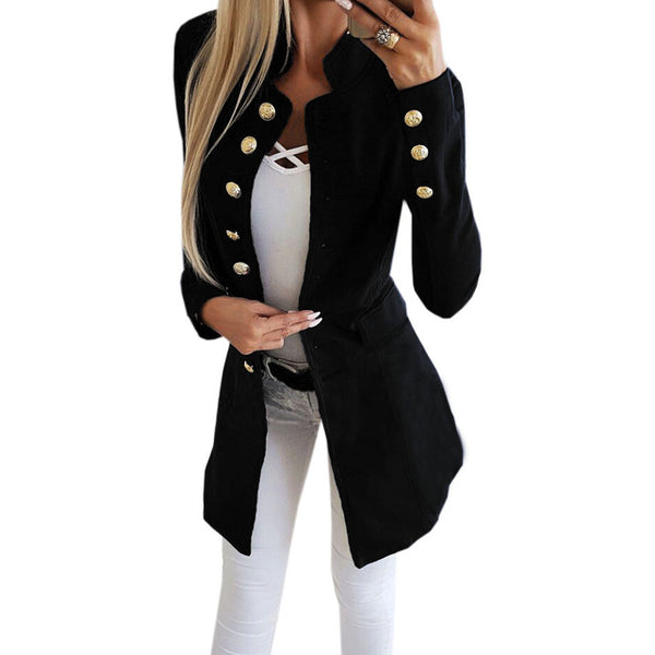 Winter New Slim Jacket 2018 Fashion Single Breasted Solid Women Long Coat Office Overall Red Black Botton Sleeve Outerwear M0235
