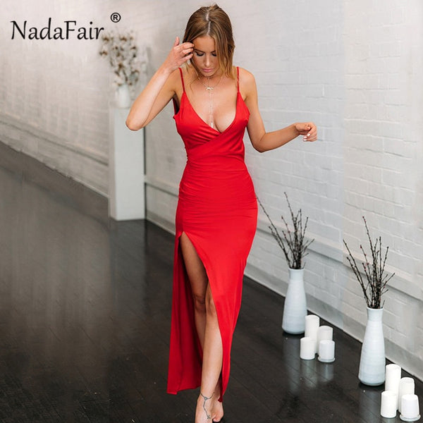 Nadafair Deep V Neck Sexy Party Maxi Dress Women Backless High Side Split Strap Slim Long Bodycon Club Summer Dress Vestidos Red