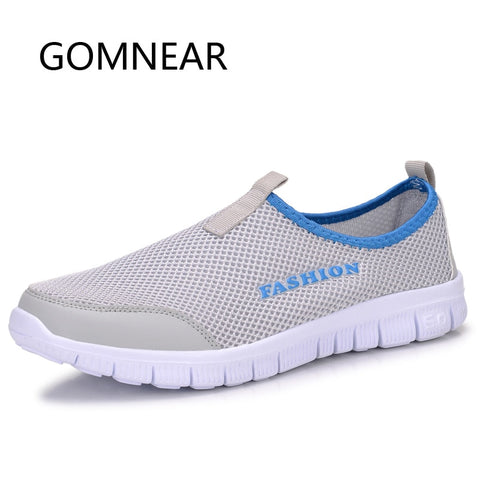 GOMNEAR Men Women Super Light Running Shoes Blue Red Outdoor Breathable Mesh Running Shoes Gym Slip-On Sport Sneakers Comfort
