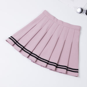 2019 Preppy Style High Waist Chic Striped Stitching Skirt Student Elastic Waist Pleated Skirt Women Cute Sweet Girls Dance Skirt