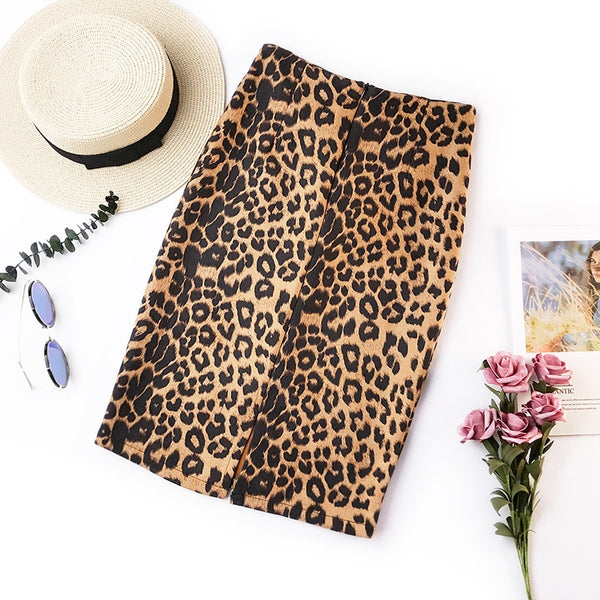 2019 summer retro leopard print office skirt high waist slim Korean version of the new elastic ladies casual sexy bag hip skirt