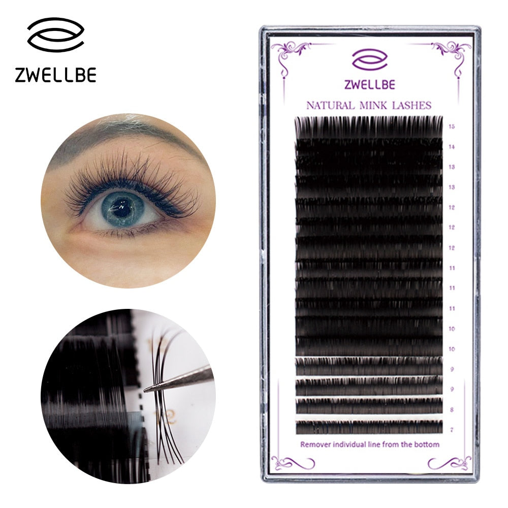 ecee1ec35fa zwellbe 16Rows/Case 7~15mm Mix In One Tray Natural Synthetic Mink  Individual Eyelash