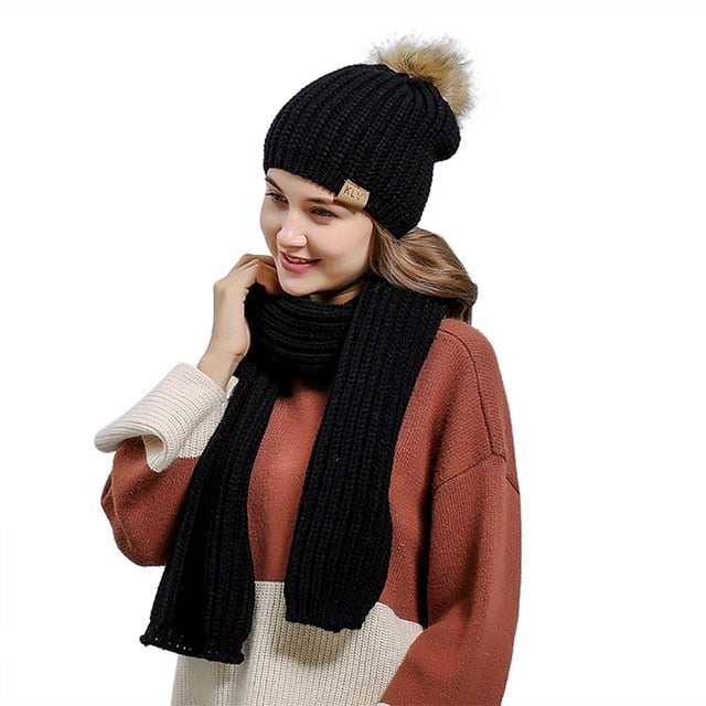 eac970982f7 ... Knit Scarf Hat Set Women Autumn Winter With Hair Ball Diamond Pattern  Wool Knit Scarf Hat ...