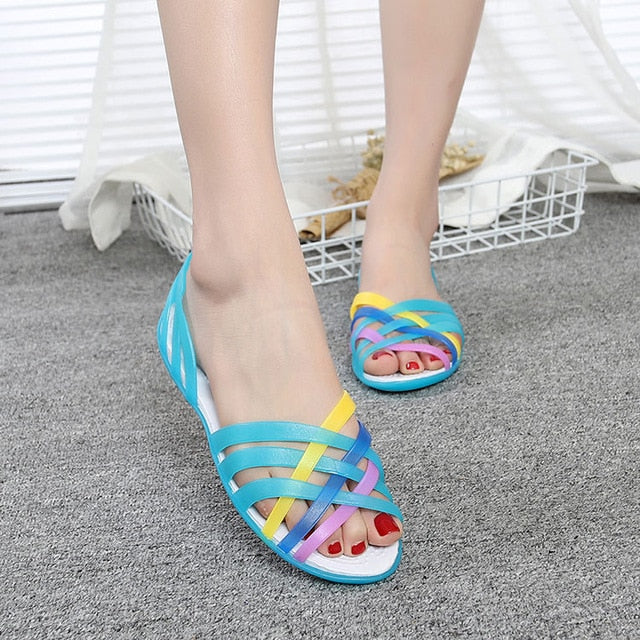 cbe488542d1e ... Women Sandals Jelly Shoes Peep Toe Summer Beach Shoes Zapatos De Mujer  Ladies Slides Candy Rainbow