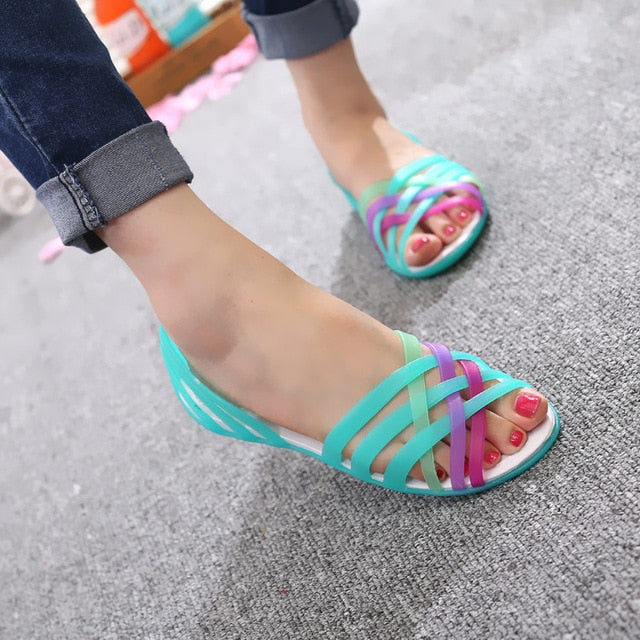 f57777792adc ... Women Sandals Jelly Shoes Peep Toe Summer Beach Shoes Zapatos De Mujer  Ladies Slides Candy Rainbow ...