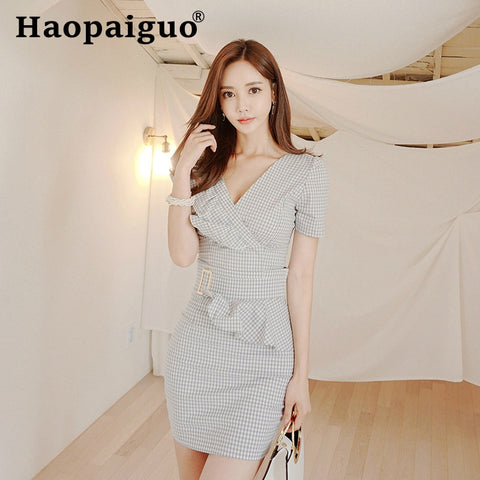 Sexy Two Piece Set 2 Piece Set Women Plaid Two Piece Outfits Crop Top and Mini Wrap Skirt Set Bodycon Matching Sets Summer 2019
