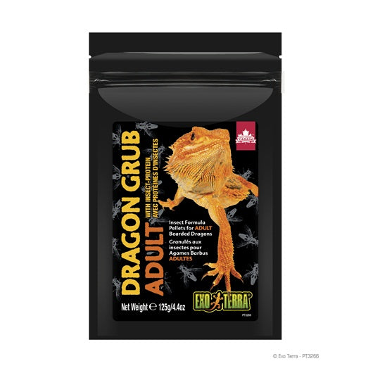 Exo Terra Dragon Grub Insect Formula Pellets for Adult Bearded Dragons 125g/4.4oz