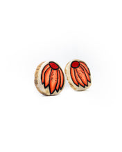Load image into Gallery viewer, Red Cone Flower Earrings