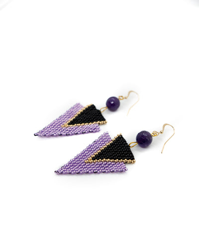 Purple Arrow Earrings