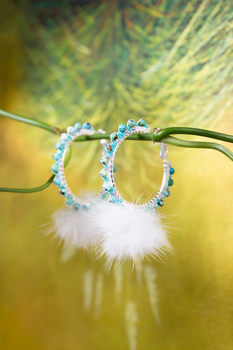 Turquoise Mink Pom Hoops