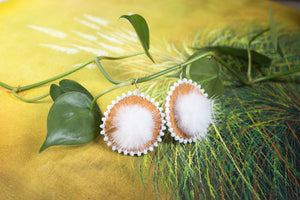 Round Hide Fluff Earrings