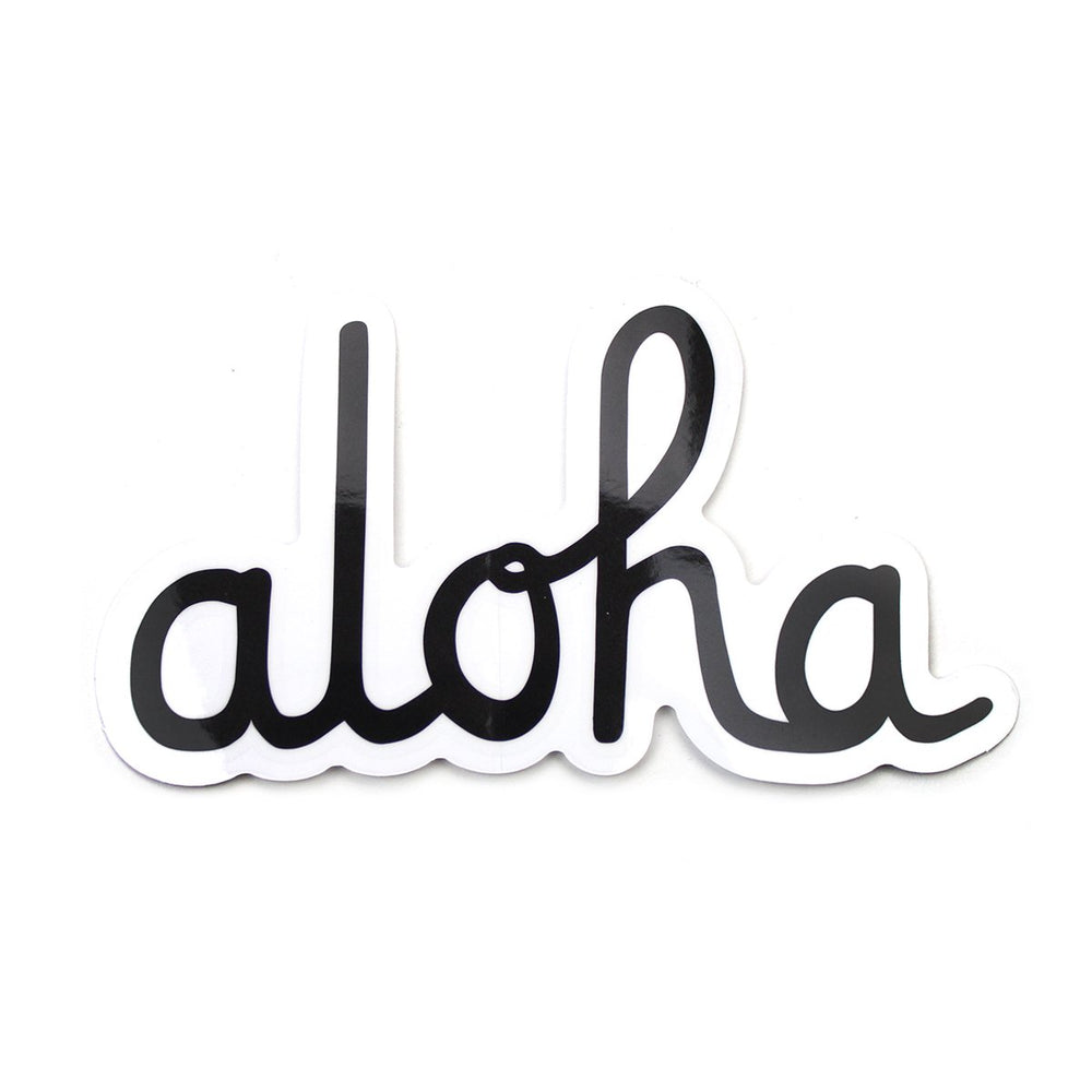 ALOHA SCRIPT STICKER (BLACK/WHITE) 5""